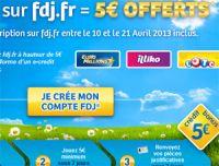 Vous jouez 5 € sur FDJ.fr avant le 21 avril ? Recevez 5 € offerts