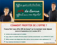 FrancePari vous offre un bonus à débloquer avant le 2 octobre