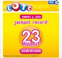 LOTO® de ce samedi 4 juin : jackpot record de 23 millions d'euros